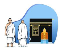 casal peregrinos hajj em frente a maqam ibrahim e kaaba vetor