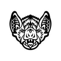 cabeça de morcego vampiro ou morcego vampiro de asa branca vista frontal mascote preto e branco vetor