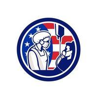 médico americano cuidando do emblema retro do círculo covid-19 do paciente