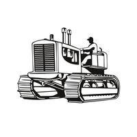 trator pesado vintage grande ou equipamento pesado com lagarta vista lateral xilogravura retrô em preto e branco vetor
