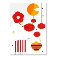 ano novo lunar vermelho e dourado de 2021 vetor