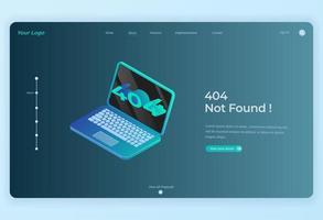 404 não encontrado laptop isométrico para o fundo da página de destino vetor