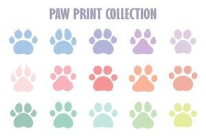 pegadas de cães e gatos. uma coleção de pegadas de cachorro com garras. ilustração vetorial. vetor