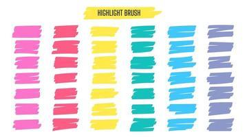 destacar linhas de pincel. mão desenhada linha de traçado de caneta marca-texto amarelo para sublinhar a palavra. vetor
