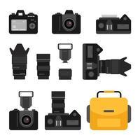 conjunto de ícones de acessórios de câmera preta sobre fundo branco. ilustrações de vetor plana de equipamento de fotografia.