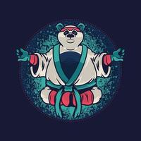 panda com uniforme de kung fu. modelo de vestuário personalizado com o animal selvagem do panda sobre fundo azul. design de ilustração vetorial para gráficos de camisetas, estampas de moda e outros usos vetor