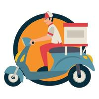 entregador andando de scooter ao trazer pacote de caixa vetor