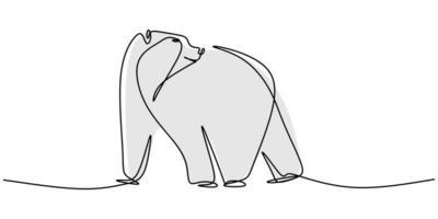desenho de linha contínua de ilustração em vetor de animais selvagens de urso.