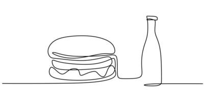 mão de hambúrguer desenhado em uma linha em um fundo branco. sanduíche de hambúrguer com cheeseburger com uma garrafa de refrigerante desenho de linha