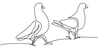 Contínuo um desenho de linha do pássaro pomba. casal lindo pombos pássaro símbolo do amor.