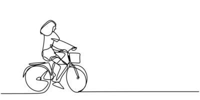 contínuo um desenho de linha de uma jovem andando de bicicleta. vetor