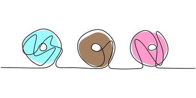 rosquinha desenho de uma linha contínua para restaurante. fresco doce deliciosos donuts americanos restaurante logotipo emblema. vetor