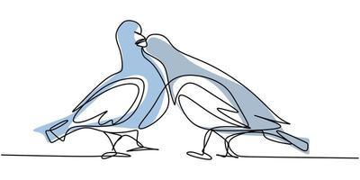 Contínuo um desenho de linha do pássaro pomba. casal lindo pombos pássaro símbolo do amor. vetor