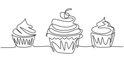 cupcake com decoração e elemento de desenho de linha contínua cereja isolado no fundo branco.