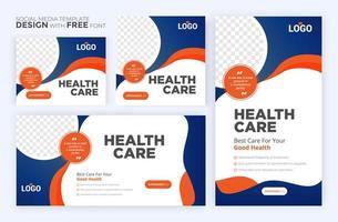 modelo de posto de saúde. banner web quadrado de promoção médica. layouts de boletim informativo de correio. postagem de mídia social sobre saúde. vetor