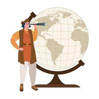 desenho de christopher columbus com telescópio e desenho vetorial de esfera mundial vetor