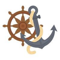 desenho vetorial de âncora marítima e leme vetor