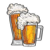 desenho vetorial de copos de cerveja isolados vetor