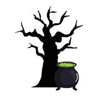 dia das bruxas, bruxa do caldeirão com árvore seca no fundo branco vetor