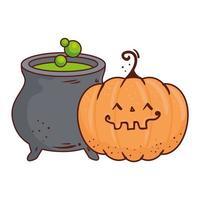abóbora fofa e caldeirão de halloween, em fundo branco vetor