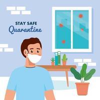 ficar em casa, quarentena ou auto-isolamento, homem usando máscara médica em casa, conceito de quarentena para ficar seguro vetor