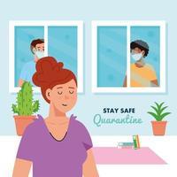 ficar em casa, quarentena ou auto-isolamento, mulher em casa e homens olhando pela janela, conceito de quarentena segura vetor