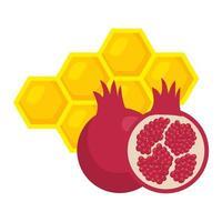 romã madura com abelha do favo de mel, em fundo branco vetor
