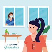 ficar em casa, quarentena ou auto-isolamento, mulheres em casa, conceito de quarentena segura vetor