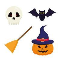 desenho vetorial de caveira e morcego de vassoura de halloween vetor