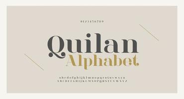elegante letras do alfabeto fonte e número vetor