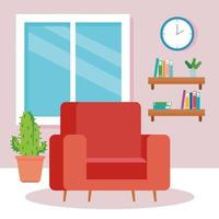 interior da sala de estar da casa, com sofá e decoração vetor