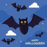 feliz dia das bruxas com desenho vetorial de desenhos animados de morcegos vetor