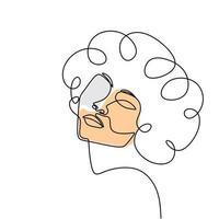 mulher rosto um desenho de linha. abstrato bela senhora design minimalista estilo contínuo. vetor