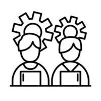 colegas de trabalho homens com laptops e engrenagens ícone de estilo de linha desenho vetorial