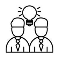 colegas de trabalho com design de vetor de ícone de estilo de linha de lâmpada