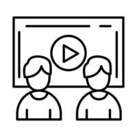 colegas de trabalho com design de vetor de ícone de estilo de linha de tela de vídeo