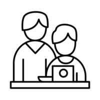 colegas de trabalho com design de vetor de ícone de estilo de linha de laptop