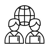 colegas de trabalho homens com laptops e design de vetor de ícone de estilo de linha de esfera global