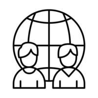 colegas de trabalho com design de vetor de ícone de estilo de linha de esfera global