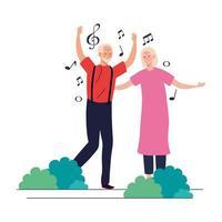 desenhos animados de homem e mulher sênior dançando desenho vetorial vetor