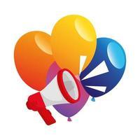 balões de festa com desenho vetorial de megafone vetor