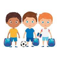 meninos fofos com bolsa escolar e bola de futebol vetor