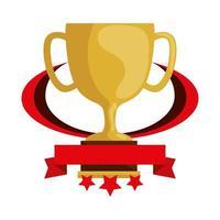taça troféu prêmio com fita e estrelas vetor