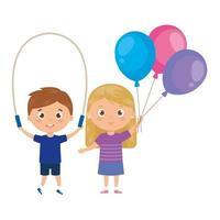 crianças fofas com corda de pular e balões de hélio vetor