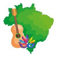 mapa do brasil com máscara de carnaval e violão vetor