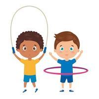 meninos fofos com corda de pular e hula hula vetor