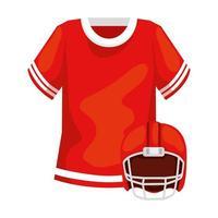ícone isolado de camisa e capacete de futebol americano vetor