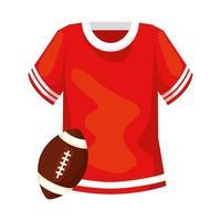 camisa e bola ícone isolado de futebol americano vetor
