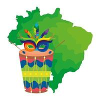mapa do brasil com máscara de carnaval e tambor vetor