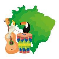 mapa do brasil com papagaio e ícones tradicionais vetor